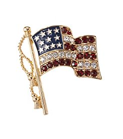 Napier® Boxed Goldtone Red, White And Blue Flag Pin