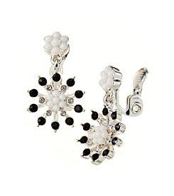 Napier® Silvertone White And Black EZ Comfort Clip Double Drop Earrings