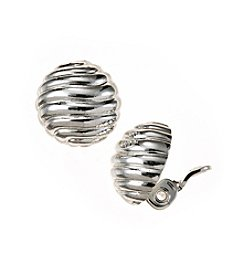 Napier® Silvertone EZ Comfort Clip Textured Round Button Earrings
