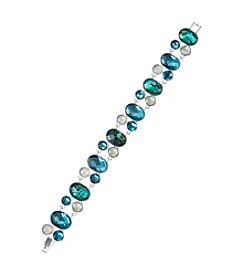 Napier® Boxed Silvertone And Blue Stone Line Bracelet
