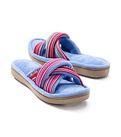 Isotoner Signature® Cabanas Novelty Stripe Crisscross Slide Slippers
