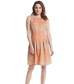 Julian Taylor Damask Fit And Flare Scuba Dress
