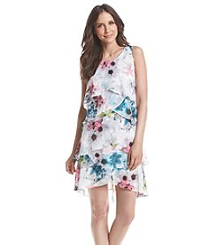 S.L. Fashions Floral Tiered Sleeveless Chiffon Dress