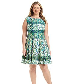 Julian Taylor Plus Size Patterned Ponte Fit And Flare Dress