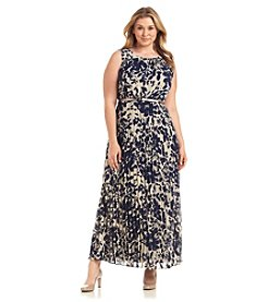 Jessica Howard® Plus Size Pleated Patterned Gown Dress