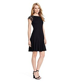 Lauren Ralph Lauren® Petites' Lace-Sleeve Rib-Knit Dress