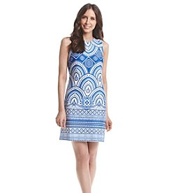 Taylor Dresses Printed Scuba Sheath Dress