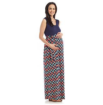 Three Seasons Maternity™ Sleeveless Chevron Print Maxi Skirt Dress plus size,  plus size fashion plus size appare