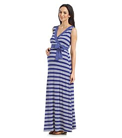 Three Seasons Maternity™ Sleeveless Stripe Surplice Maxi Dress