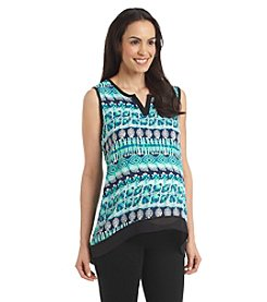 Three Seasons Maternity™ Print Henley High Low Hem Tank