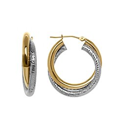 14k Yellow And White Gold Overlapping Double Hoop Earrings