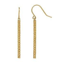 14k Yellow Gold Thin Bar Dangle Earrings