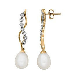 10k Yellow Gold Cultured Freshwater Pearl Drop Earrings With 0.04ct Diamond Accent
