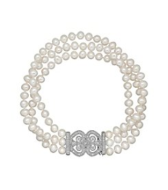 Sterling Silver Cultured Freshwater Pearl Bracelet With 0.15ct Diamond Accent