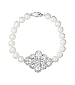 Sterling Silver Freshwater Pearl And White Topaz Bracelet