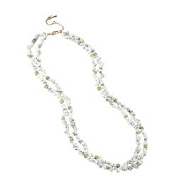 Kenneth Cole® Goldtone Semiprecious Chip Bead Multi Row Long Necklace