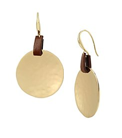 Robert Lee Morris Soho™ Goldtone Hammered Texture Disc Drop Earrings