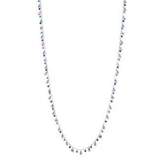 "Nine West Vintage America Collection® Worn Silvertone And Turquoise 42"" Long Strandage Necklace"