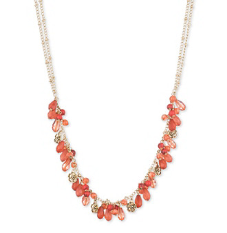 "Nine West Vintage America Collection® Worn Goldtone And Coral 16"" Frontal Necklace"