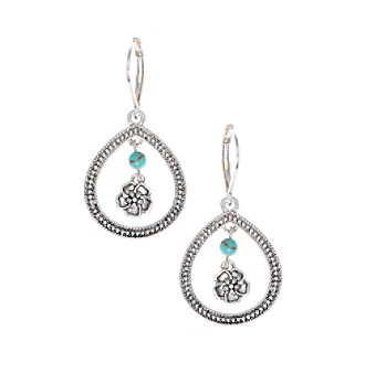 Nine West Vintage America Collection® Silvertone And Turquoise Orbital Drop Earrings plus size,  plus size fashion plus size appare