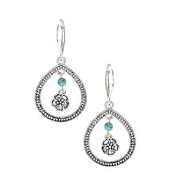 Nine West Vintage America Collection® Silvertone And Turquoise Orbital Drop Earrings