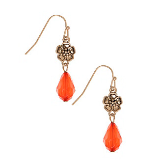 Nine West Vintage America Collection® Goldtone And Coral Double Drop Earrings plus size,  plus size fashion plus size appare