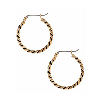 Nine West Vintage America Collection® Goldtone Rope Clicktop Hoop Earrings plus size,  plus size fashion plus size appare