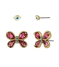 Betsey Johnson® Goldtone Eye & Butterfly Duo Stud Earrings Set