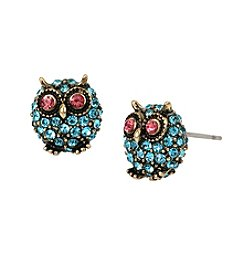 Betsey Johnson® Goldtone Pave Owl Stud Earrings