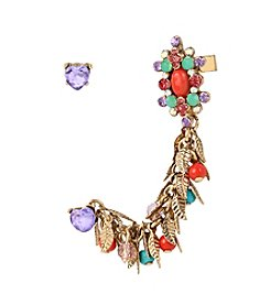 Betsey Johnson® Goldtone Heart Stud & Shaky Mixed Bead Faceted Stone Crawler Earrings Set