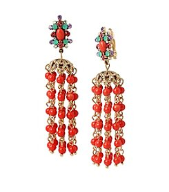 Betsey Johnson® Goldtone Coral Bead Chandelier Clip-On Earrings