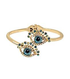 Betsey Johnson® Goldtone Eye Bypass Hinged Bangle Bracelet