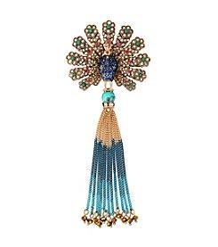 Betsey Johnson® Goldtone Pave Peacock & Fringe Pin