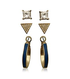 GUESS Goldtone Trio Earrings Set