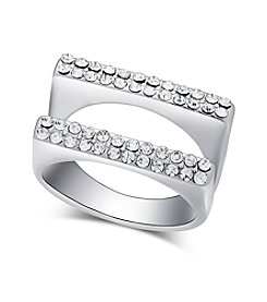 GUESS Silvertone Double Bar Crystal Accent Ring