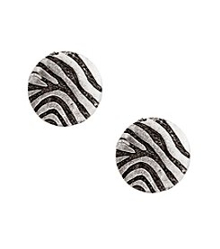 Erica Lyons® Silvertone Welcome To The Jungle Zebra Button Clip Earrings