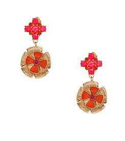 Erica Lyons® Goldtone Back To The Fuchsia Drop Clip Earrings