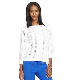 Lauren Jeans Co.® Cabled Linen-Cotton Sweater