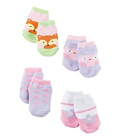 Cuddle Bear® Baby Girls' 4-Pack Animal Socks