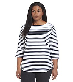 Studio Works® Plus Size Bateau Stripe Knit Top