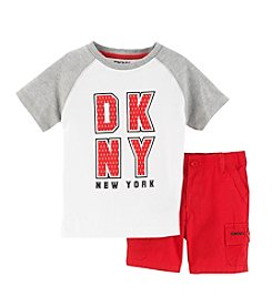 DKNY® Boys' 2T-7 2-Piece Raglan Tee And Shorts Set