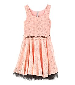 Beautees Girls' 7-16 Lace Fit And Flare Dress