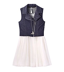 Beautees Girls' 7-16 Ballerina Dress With Moto Vest