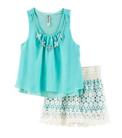 Beautees Girls' 7-16 Tiered Tank And Lace Shorts Set