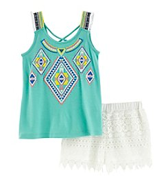 Belle du Jour Girls' 7-16 Geo Printed Tank And Lace Shorts Set