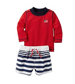 Carter's® Baby Boys 2-Piece Rashguard and Striped Swim Shorts Set