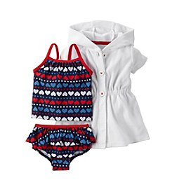 Carter's® Baby Girls' 3-Piece Heart Printed Swim Set With Cover Up
