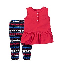 Carter's® Baby Girls' 2-Piece Tank And Heart Printed Leggings Set