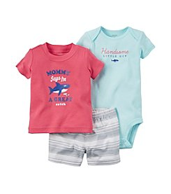 Carter's® Baby Boys 3-Piece. Bodysuit Shark Graphic Tee And Shorts Set