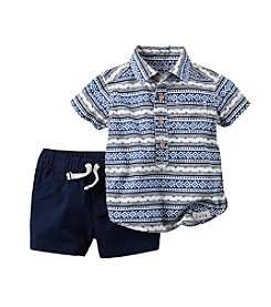 Carter's® Baby Boys 2-pc. Printed Button Down Shirt And Shorts Set